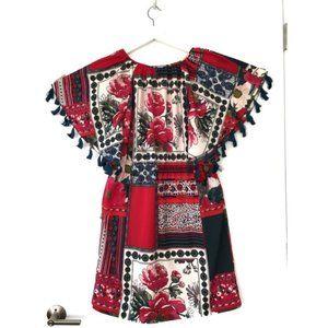 Anthropologie Vanessa Virginia Red Tassel Dress